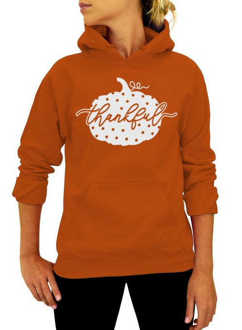 Polka Dot Thankful Pumpkin Thanksgiving Hoodie - Unisex Hooded Sweatshirt