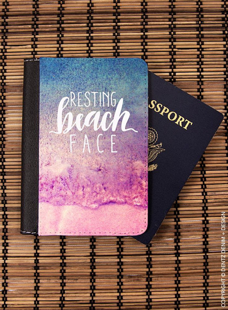 Resting Beach Face, Wanderlust, Gift for Traveler, Passport Cover, Passport Holder, Passport Case,Travel Gift, Travel Wallet, travel quote