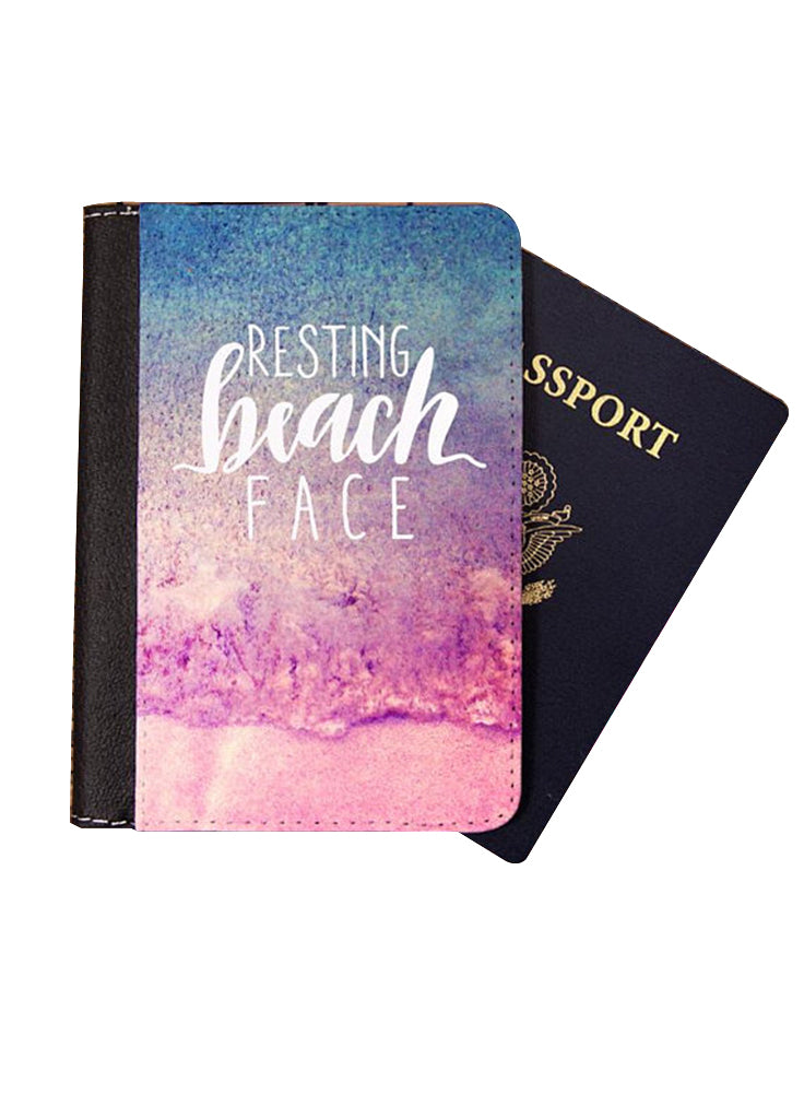 Gift for Traveler Wanderlust Passport Holder Cover Wallet Resting Beach Face
