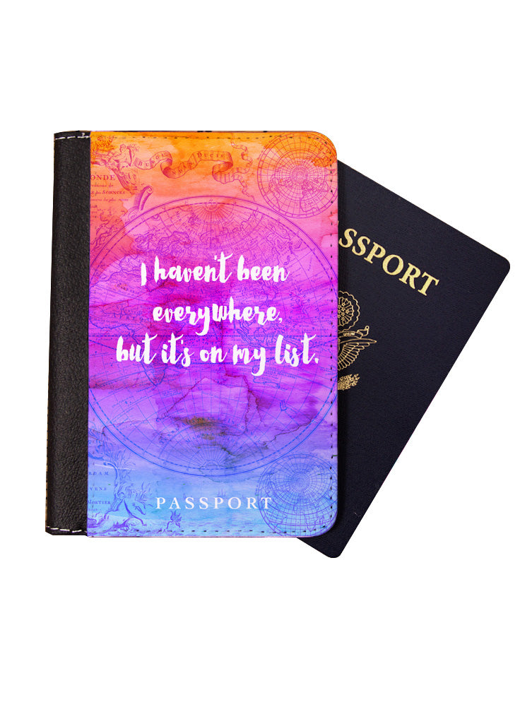 Passport Holder, Passport Cover, Gift for Traveler, I haven't been everywhere, but it's on my list, Travel Wallet, Luggage, Travel, Accessories
