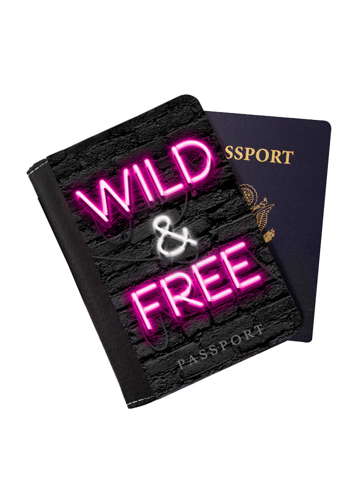 Wild and Free Passport Cover, Wild and Free Neon Sign, Travel Wallet, Passport Holder, Luggage, Travel, Accessories, Vacation