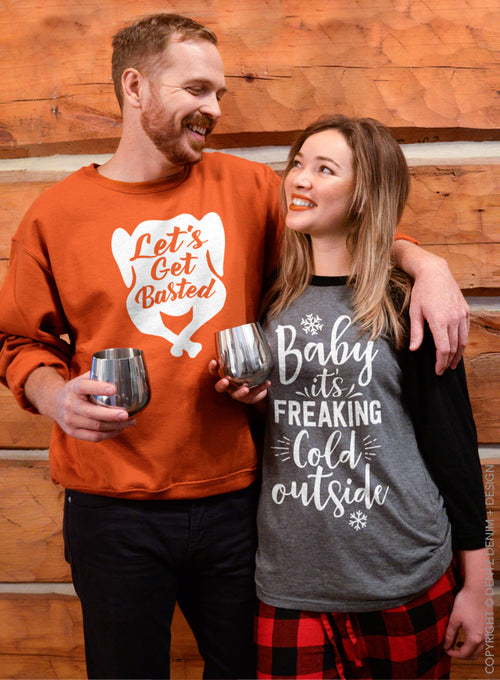Baby It's Freaking Cold Outside Baseball Tee - 3/4 Sleeve Unisex Raglan