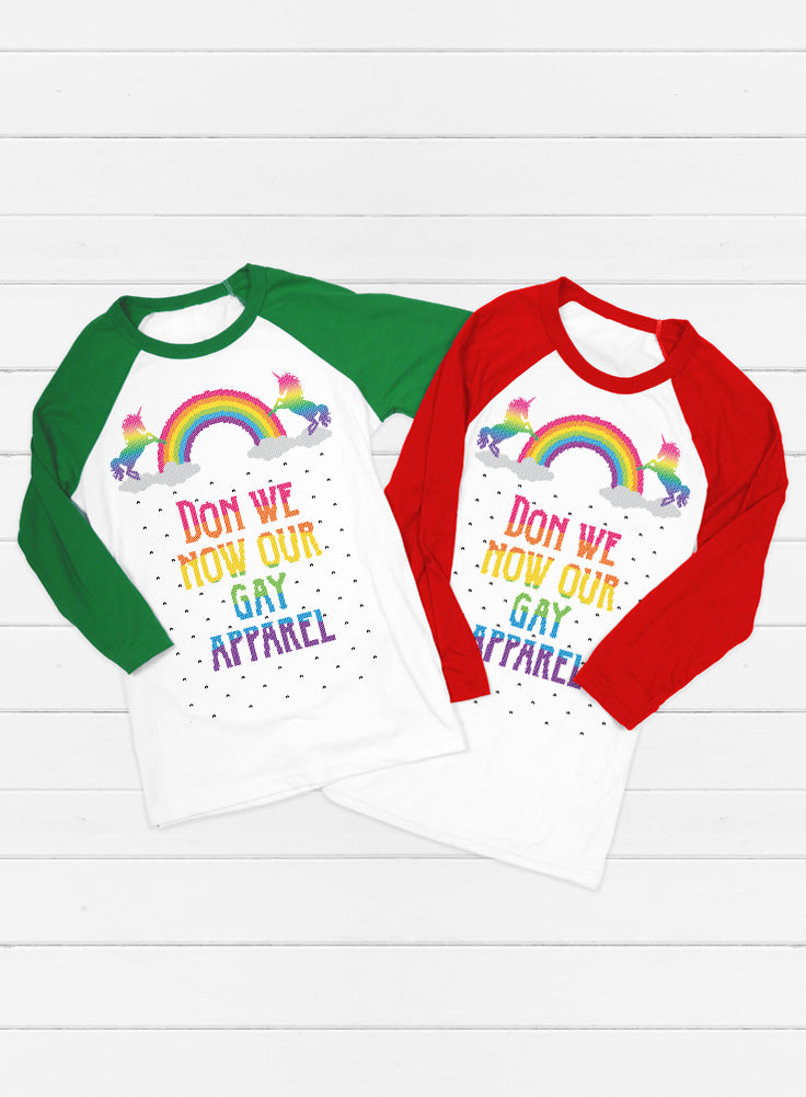 Don We Now Our Gay Apparel Christmas Baseball Tee - 3/4 Sleeve Unisex Raglan