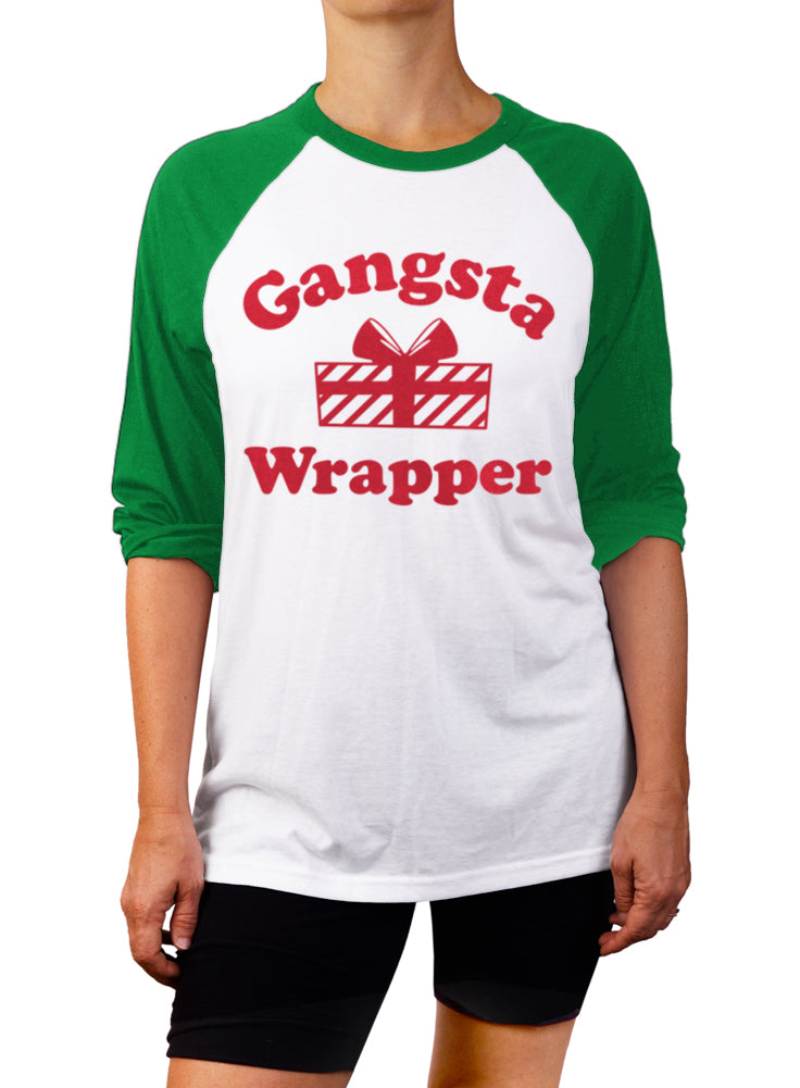 Gangsta Wrapper Christmas Baseball Tee - 3/4 Sleeve Unisex Raglan