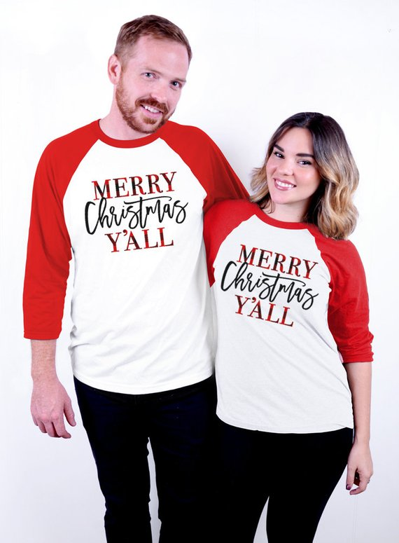 Plaid Merry Christmas Y'all Baseball Tee - 3/4 Sleeve Unisex Raglan