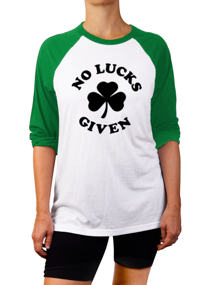 No Lucks Given St. Patrick's Day Baseball Tee - 3/4 Sleeve Unisex Raglan