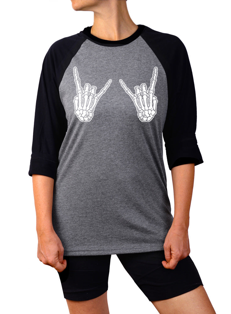 Skeleton Hands Baseball Tee - 3/4 Sleeve Unisex Raglan