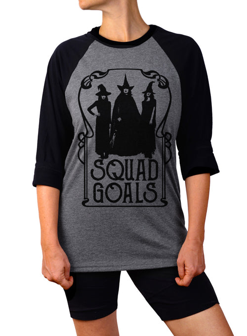 Squad Goals Halloween Witch Baseball Tee - 3/4 Sleeve Unisex Raglan
