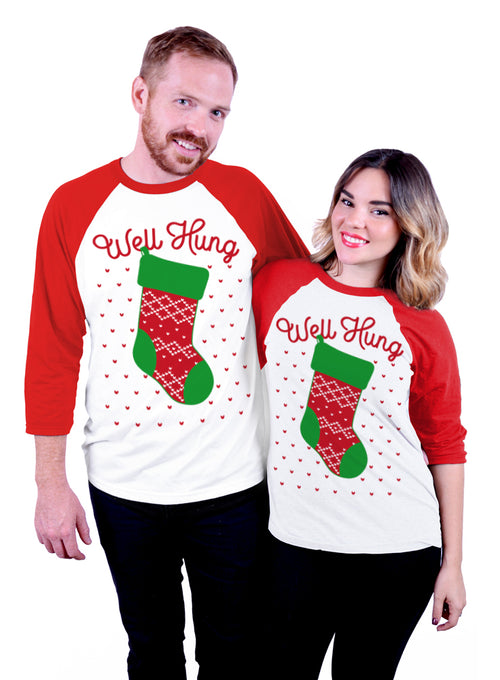 Well Hung Christmas Baseball Tee - 3/4 Sleeve Unisex Raglan