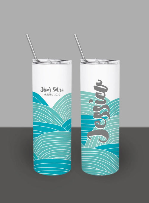Beach Abstract Waves - Custom 20oz Skinny Tumbler