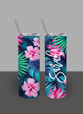 Palm Leaf Pale Pink Text - Custom 20oz Skinny Tumbler