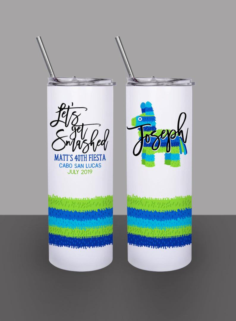 Let's Get Smashed Llama Piñata, Bachelor Party - Custom 20oz Skinny Tumbler