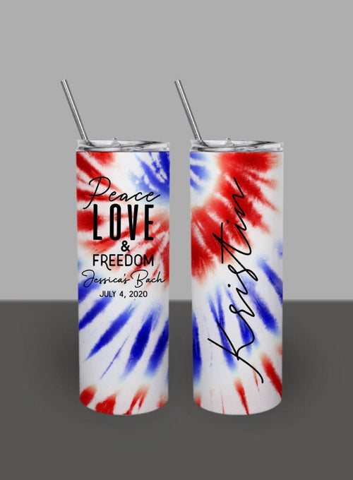 Red White and Blue Tie Dye Fourth of July - Custom 20oz Skinny Tumbler