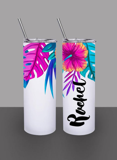 Tropical Palm Flowers - Custom 20oz Skinny Tumbler