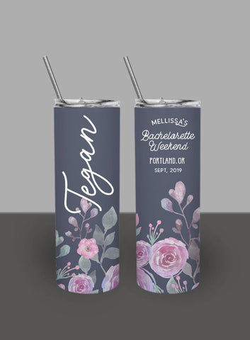 Unicorn Floral Print Skinny Tumbler, Custom Bachelorette Party 20 oz. Tumbler, Personalized Bridesmaid Tumbler with straw and lid