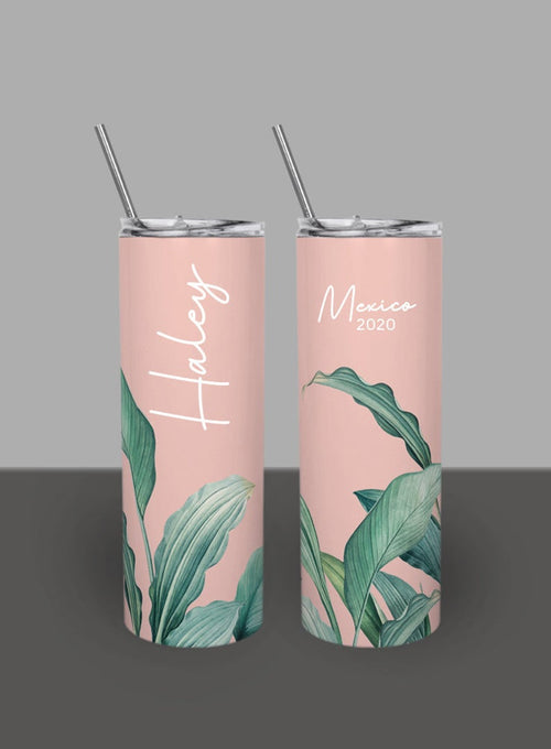 Pale Pink Tropical Palm Leaves - Custom 20oz Skinny Tumbler