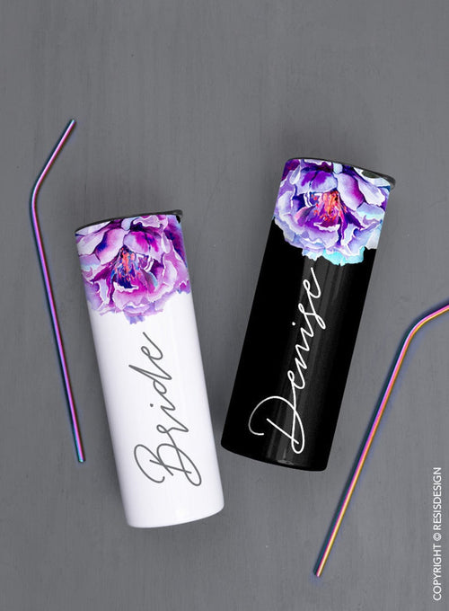 Purple Peony Flower, White or Black Background - Custom 20oz Skinny Tumbler