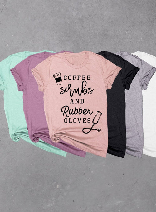 Coffee Scrubs and Rubber Gloves, Soft Unisex Tri-blend T-shirt