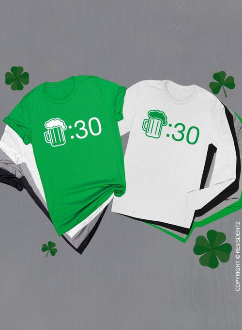 St. Patricks Day Beer :30 Long or Short Sleeve T-Shirt, Funny Beer Drinking Womens Mens St. Patricks Day Unisex T-shirt, Plus Size shirts