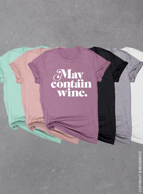 May Contain Wine Funny Thanksgiving Soft Unisex Tri-blend T-shirt