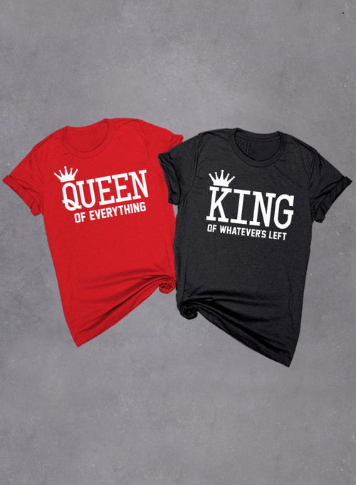 Set of 2 Couples King and Queen Funny Valentines Day T-shirts, Queen of Everything Shirt, King of Whatevers Left, Men Women Triblend T-shirts Soft Unisex Tri-blend T-shirt