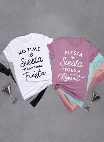 No Time To Siesta It's My Final Fiesta, Fiesta Siesta Tequila Repeat Slouchy Tee - Off The Shoulder Slouchy T-shirt
