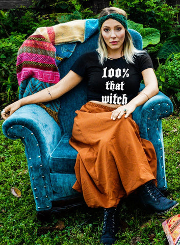 100% That Witch Halloween Slouchy Tee - Off The Shoulder Slouchy T-shirt