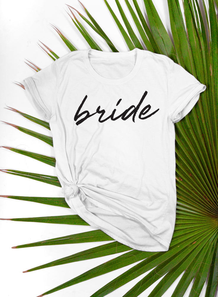 Bride and Squad T-shirts Script Squad Women's T-shirt - The Boyfriend Tee