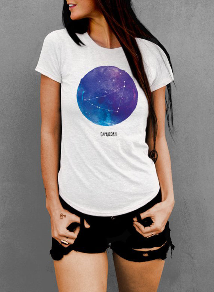Capricorn Watercolor Zodiac Constellation Women's T-shirt - The Boyfriend Tee