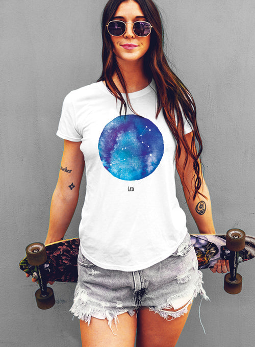 Leo Watercolor Zodiac Constellation Women's T-shirt - The Boyfriend Tee