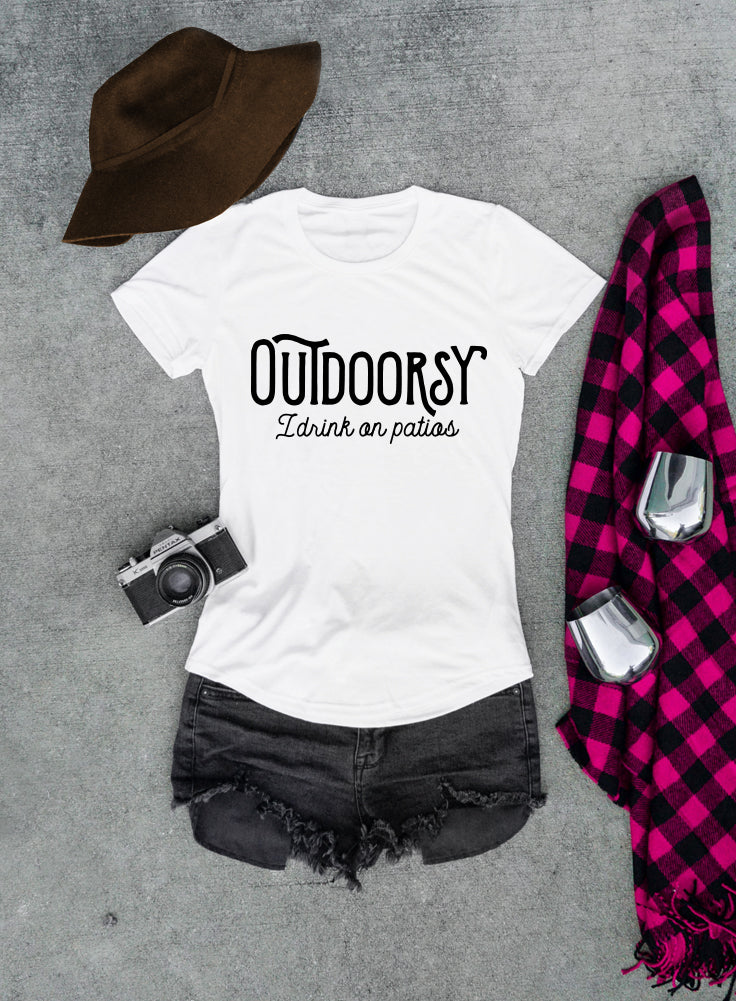 Outdoorsy I drink on Patios Women's T-shirt - The Boyfriend Tee
