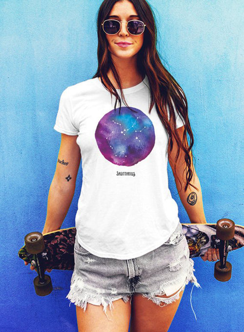 Sagittarius Watercolor Zodiac Constellation Women's T-shirt - The Boyfriend Tee