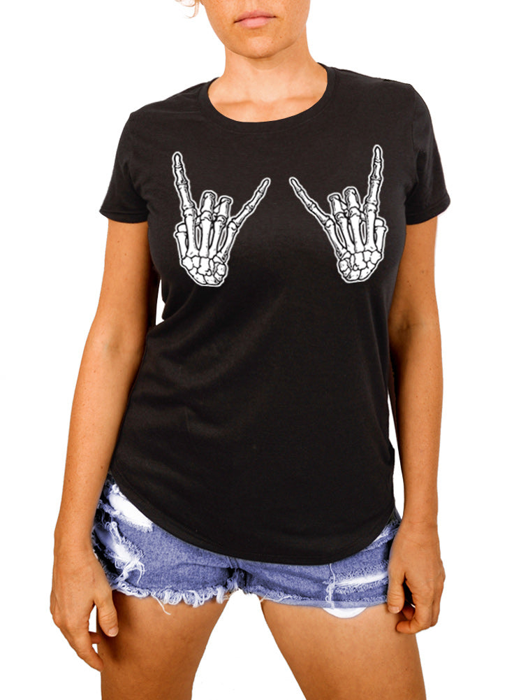 Skeleton Hands Rock On Women's T-shirt - The Boyfriend Tee
