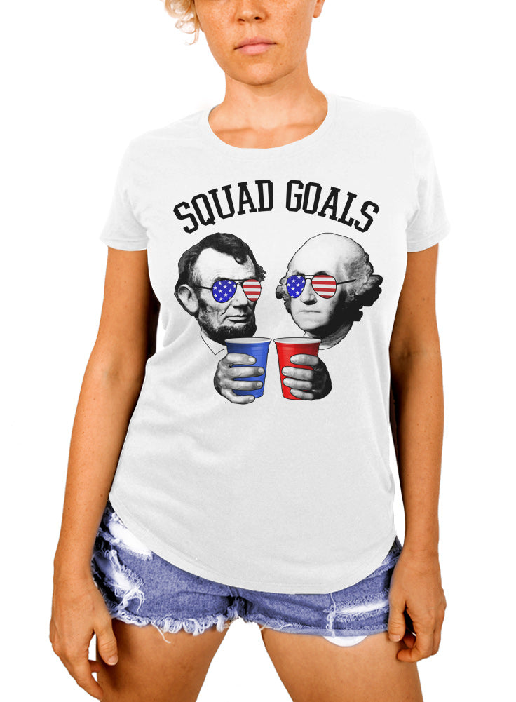 Lincoln and Washington Squad Goals Women's T-shirt - The Boyfriend Tee