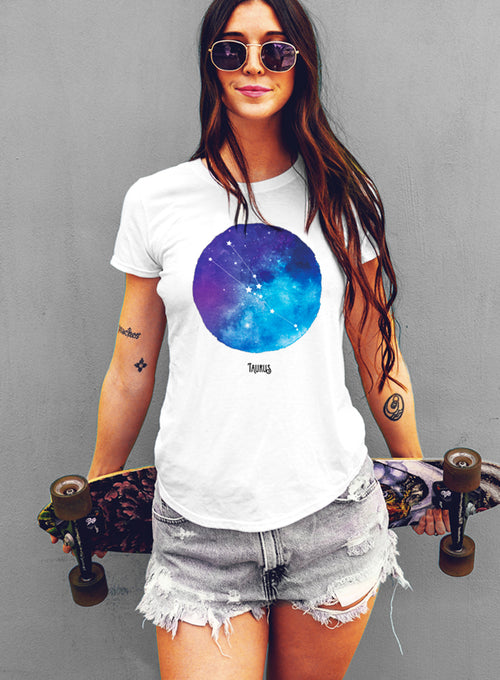 Taurus Watercolor Zodiac Constellation Women's T-shirt - The Boyfriend Tee