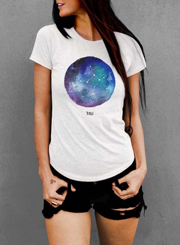 Virgo Watercolor Zodiac Constellation Women's T-shirt - The Boyfriend Tee