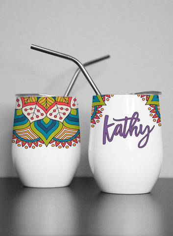 Tropical Palm Custom Wine Tumbler