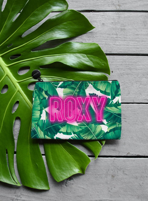 Neon Light Palm Leaf Makeup Bag, Coin Purse or Custom Jewelry Gift Bag - Zipper Pouch