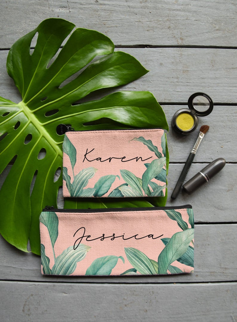 Pale Pink Tropical Palm Leaves Makeup Bag, Coin Purse or Custom Jewelry Gift Bag - Zipper Pouch