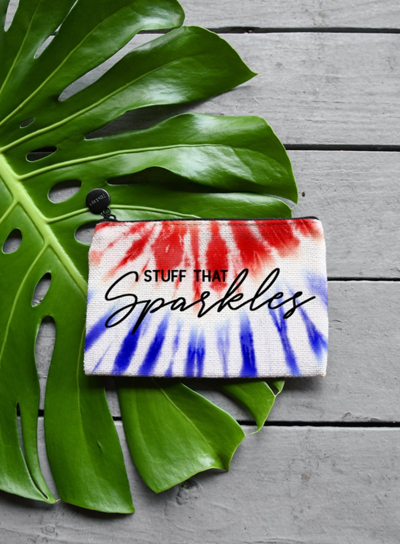 Red White and Blue Tie Dye Fourth of July Makeup Bag, Coin Purse or Custom Jewelry Gift Bag - Zipper Pouch