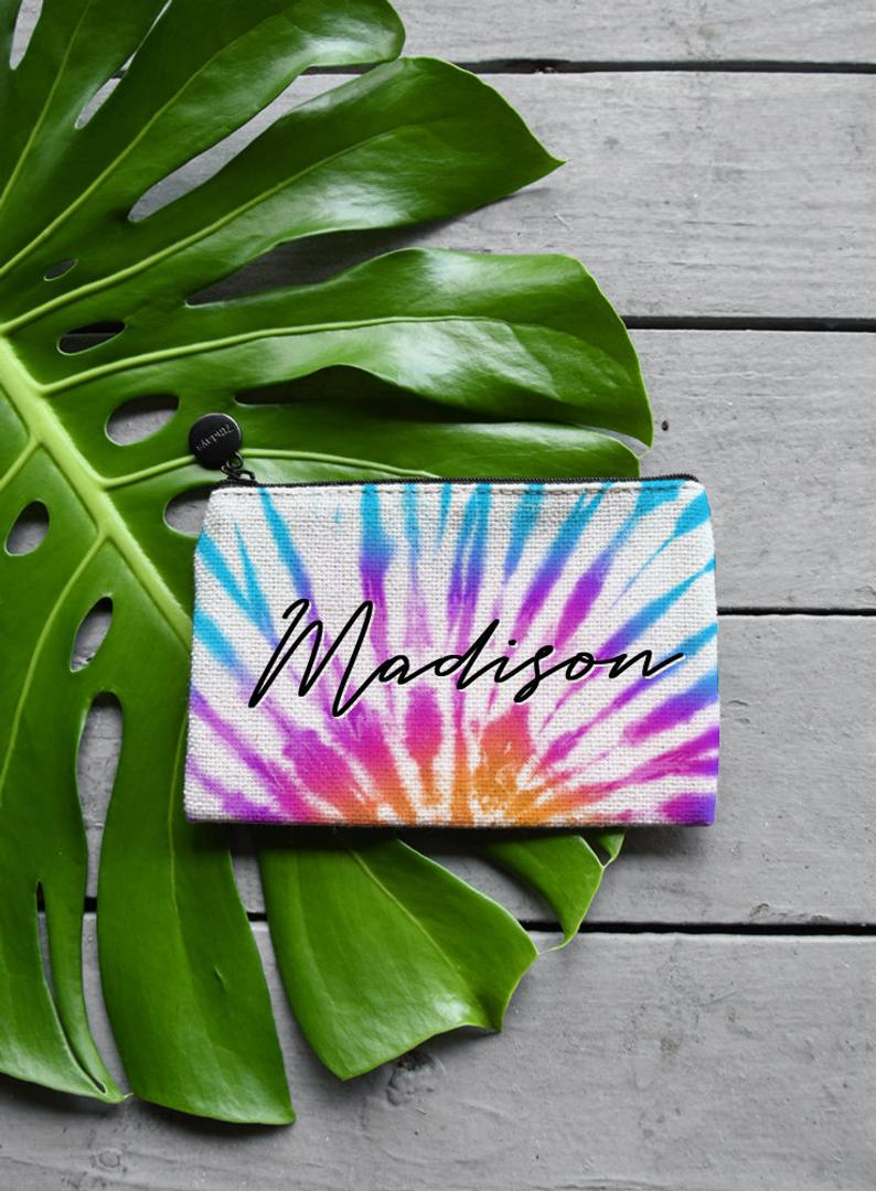 Tie Dye Makeup Bag, Coin Purse or Custom Jewelry Gift Bag - Zipper Pouch