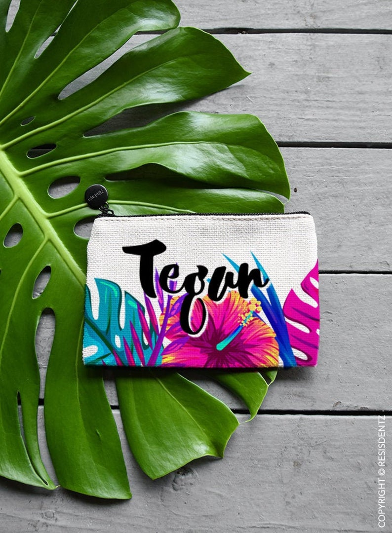 Tropical Palm Makeup Bag, Coin Purse or Custom Jewelry Gift Bag - Zipper Pouch