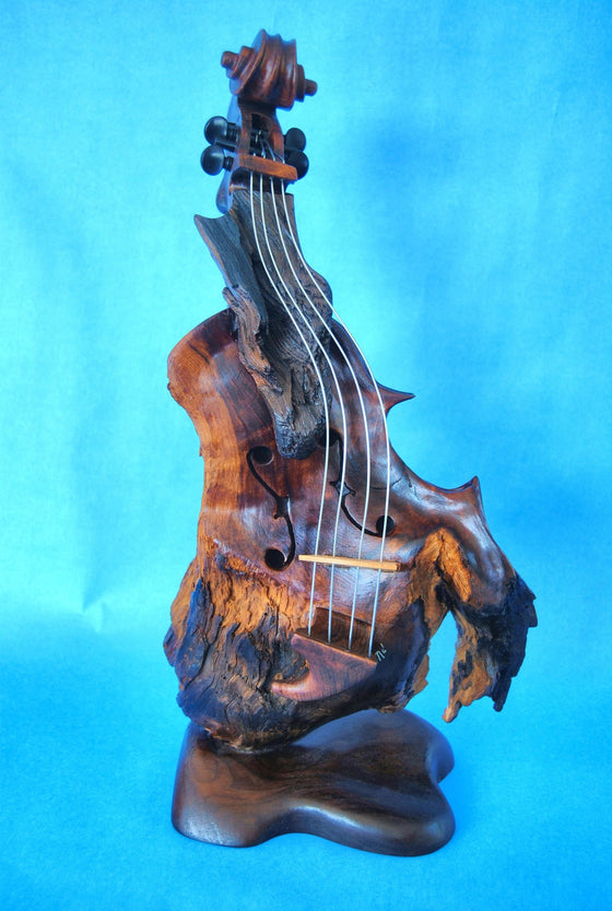 "Bruce MenNe' - ""Alameda"" Surreal Single Violin Wood Sculpture"