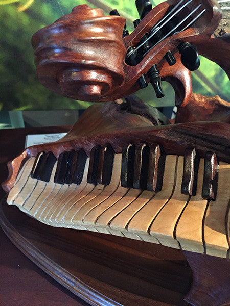 "Bruce MenNe' - ""Legato"" Surreal Piano Violin Wood Sculpture"