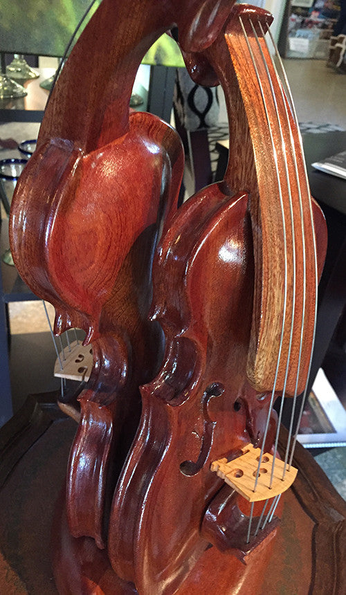 "Bruce MenNe' - ""Prom Night"" Surreal Double Violin Wood Sculpture"