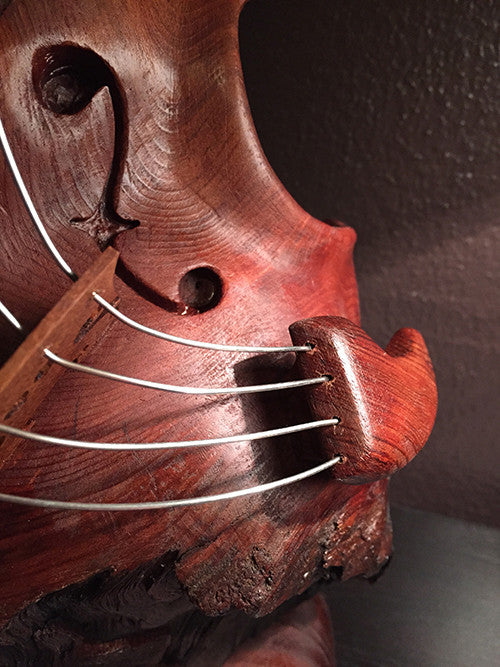 "Bruce MenNe' - ""Redwood Burl"" Surreal Violin Wood Sculpture"