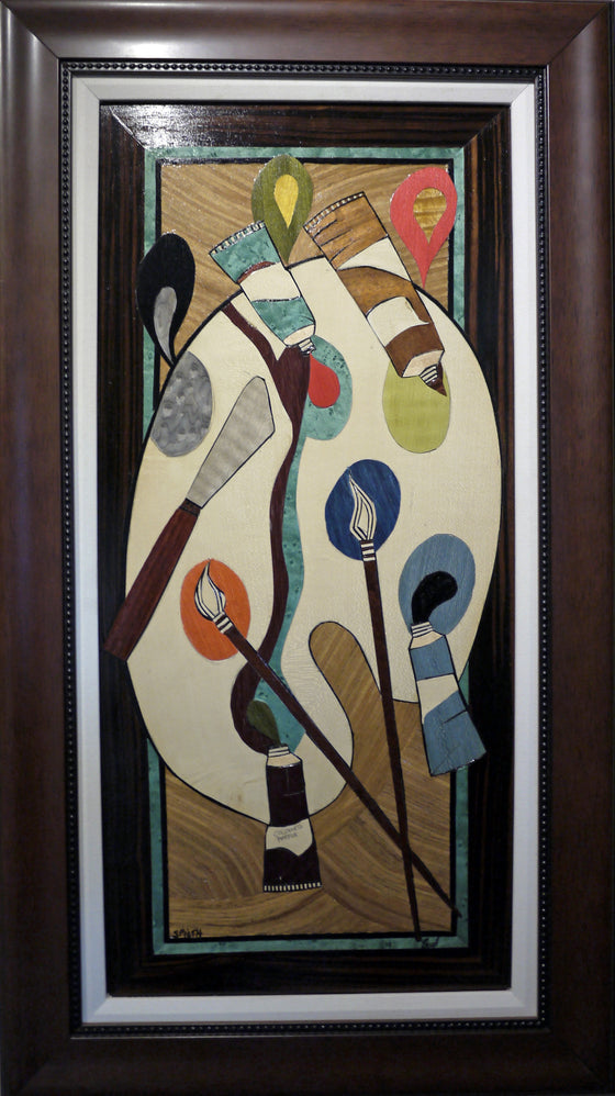 "Errol P. Bruce - ""Spilled"" Wood Inlay Marquetry"