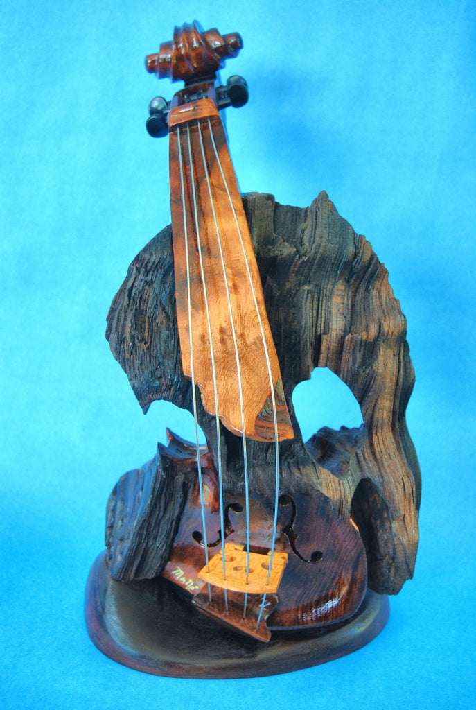 "Bruce MenNe' - ""Fire of the Phoenix"" Surreal Single Violin Wood Sculpture"