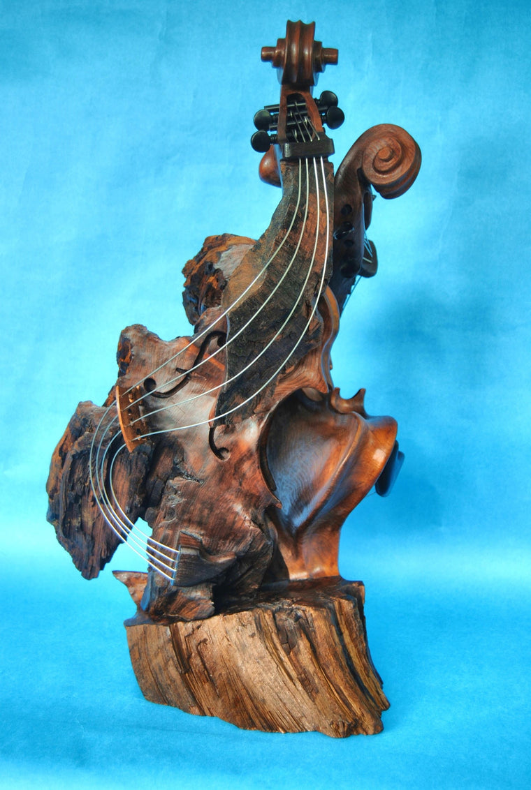 "Bruce MenNe' - ""Flamboyant Ladies"" Double Violin Wood Sculpture"