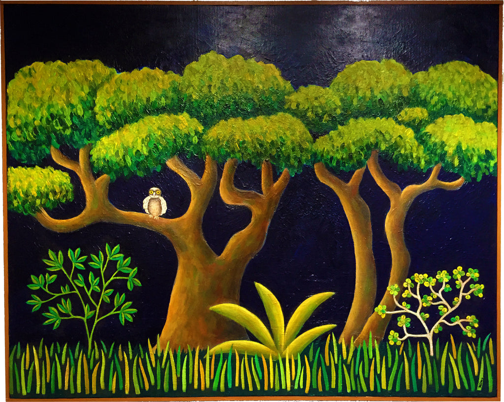 "Judith Kaiser - ""Big Trees with Owl"" Acrylic Painting"